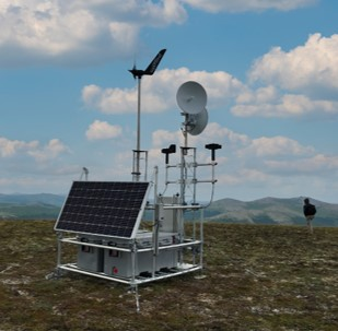 Hybrid-energy module deployed near Council, AK for year-round power, data acquisition, and satellite communications.