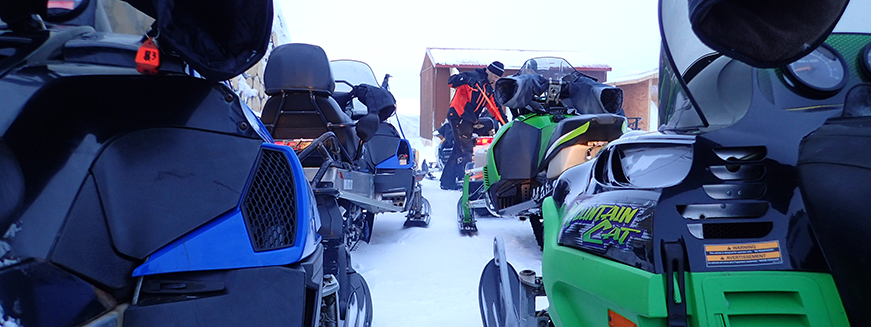 Snowmachines ready for trip to field site